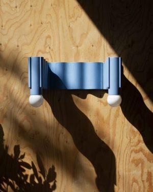 Corrugation Lights - Double Sconce, pastel blue