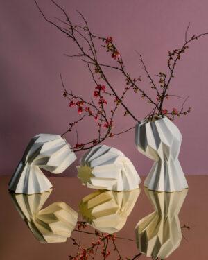 """Slump"" contemporary origami ceramic vase by Studio Morison - 5 variations of slump"